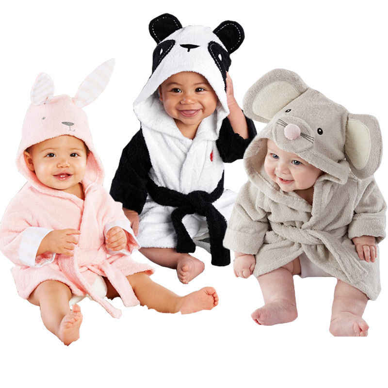 Newborn Infantil Toddler Baby Unisex Robe Cartoon Animal Baby Hooded Bathrobe Bath Towel Bath Terry Bathing Robe