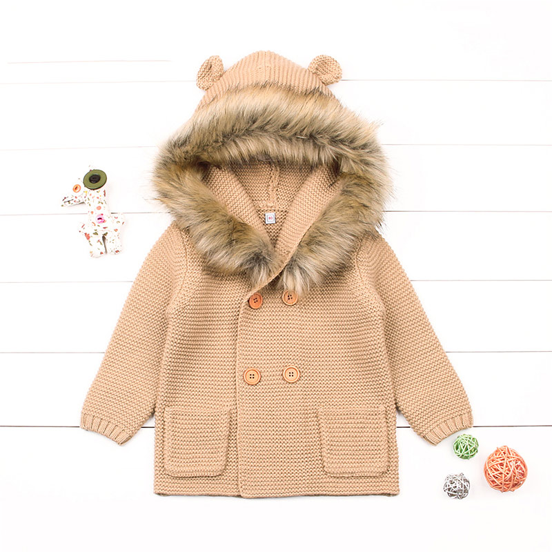 27ef55996 Cartoon Winter Sweater For Baby Girls Cardigan With Ears Newborn ...