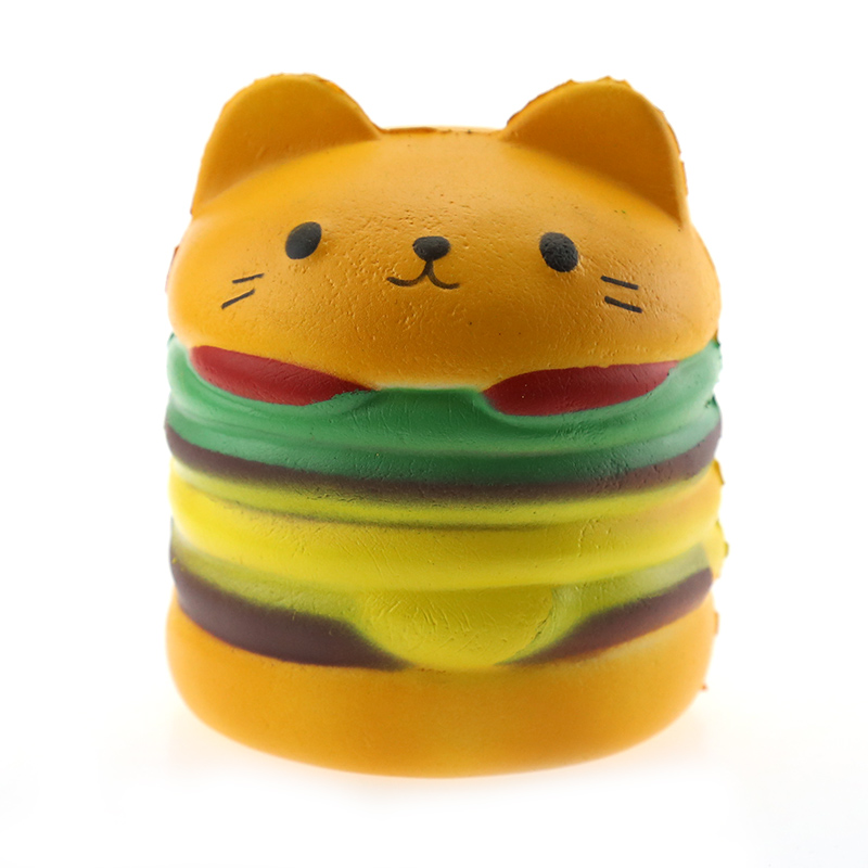 Squeeze Squishy Cute Hamburger Slow Rising Scented  Cat Smlie Hamburger Squishy  Kawaii  Stress Relieve Unzipping Toys