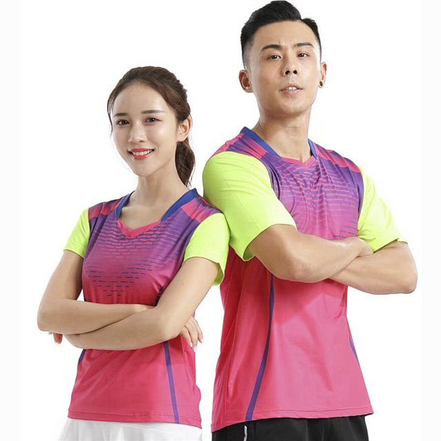 top fashion 35ec6 51ab7 US $10.98 |Sport Gym Quick Dry atmungs fußball badminton t shirt Jerseys,  Frauen/Männer tischtennis kleidung team spiel training laufen T Shirts in  ...