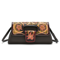 chinese vintage handmade carve flower genuine leather evening bags women clutch