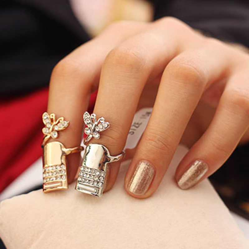 Brand New Fashion Titanium Steel Finger Tip Nail Cover Rings Delicated Opening Ring Silver/ Gold Available