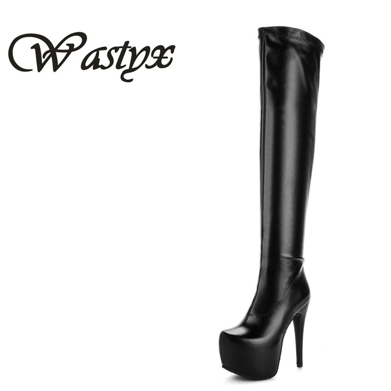 Wastyx new 2017 super high heel women boots sexy over the knee high boots fashion round toe shoes woman platform zapatos mujer ...