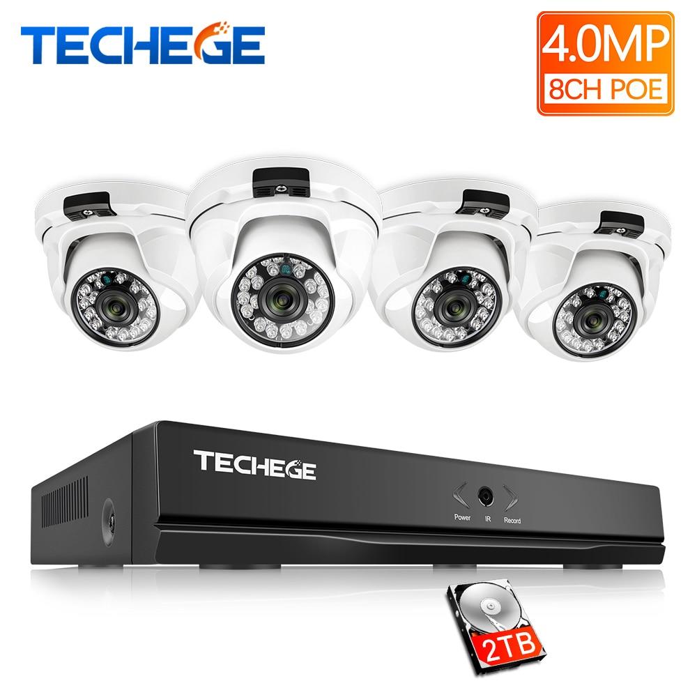 Techege H 265 8CH POE NVR Kit 4MP POE Dome IP Camera indoor 2560 1440 IR