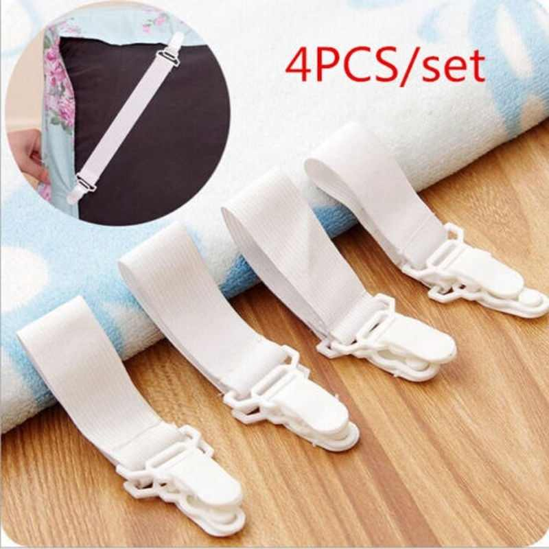 4pcs/ set White Bed Sheet Mattress Cover Blankets Grippers Clip Bed Sheet Fasteners Set Holder Fasteners Elastic Set