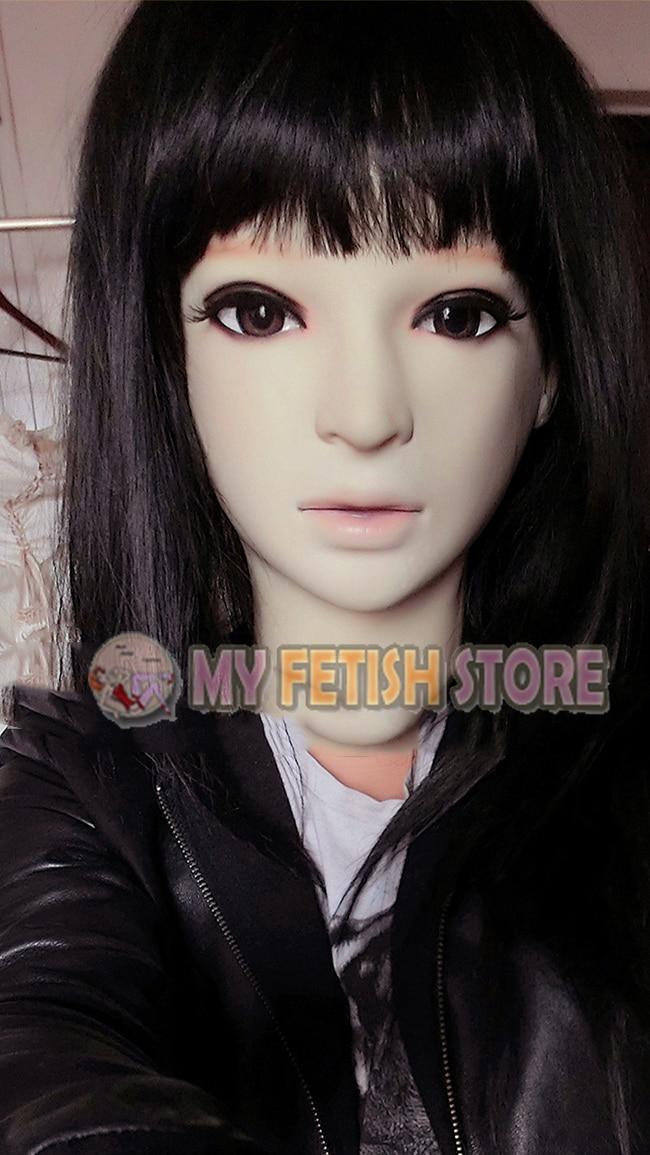 (Hiver) Crossdress Silicone souple réaliste femme/fille visage pleine tête Sexy dollmasque Crossdresser masque avec perruque