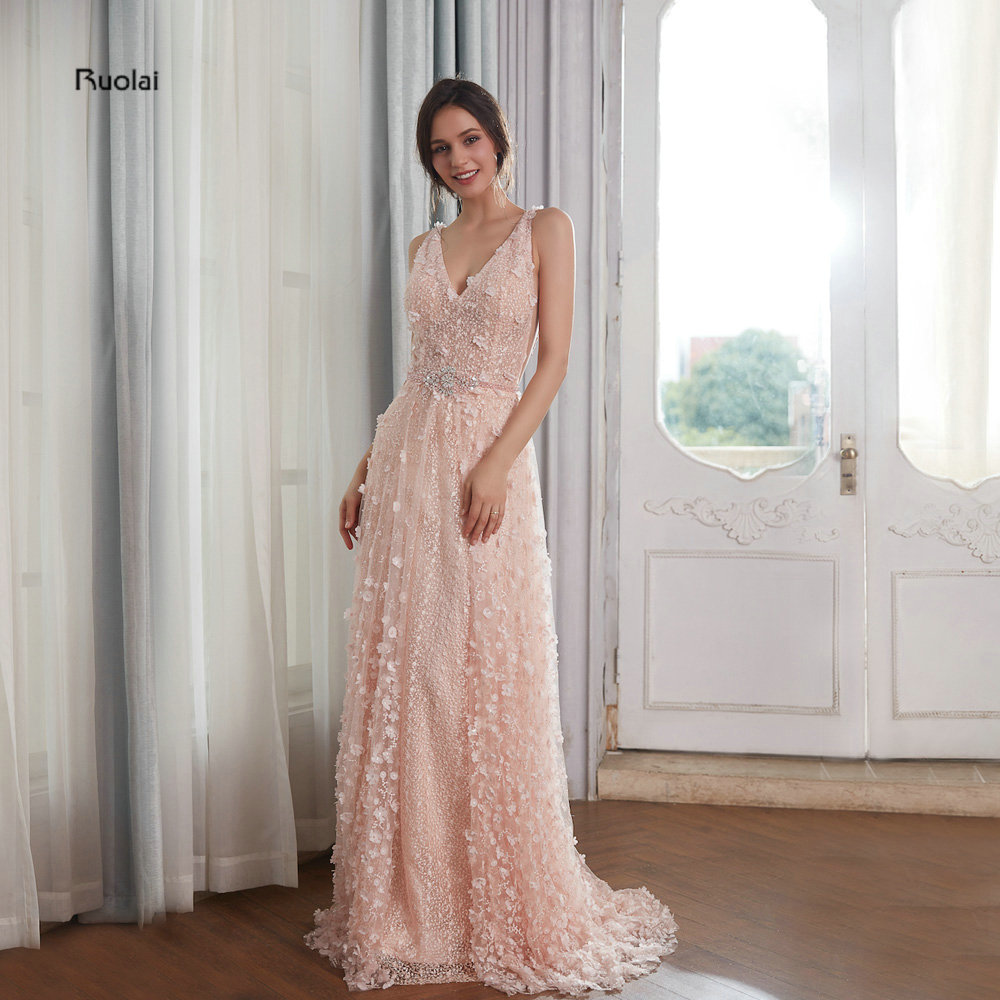 Stunning   Evening     Dresses   Long 2018 V Neck Crystal Sleeveless Lace Floral   Evening   Gown Party   Dresses   Open Back robe de soiree