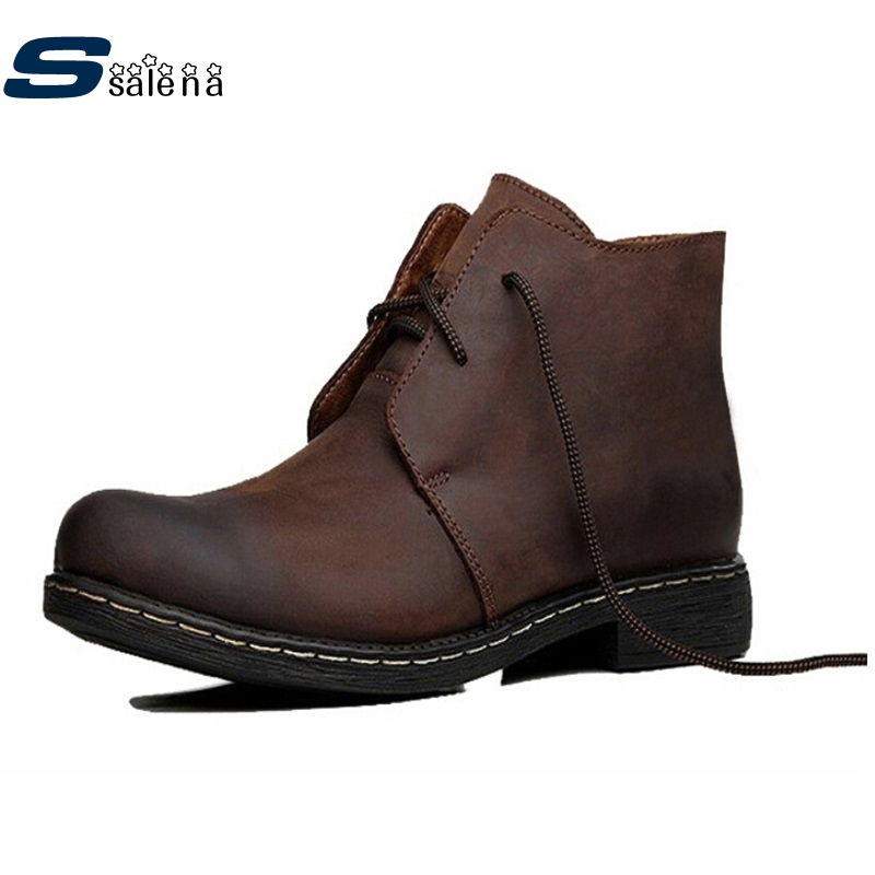 ФОТО 2017 Men boots Classic Vintage Crazy 100% Cow Leather Boots Men Genuine Leather Shoes Men WesternBoots A200
