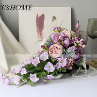 Artificial DIY Flower Bride Bouquet Silk Rose Purple Peony Morning Glory For Home Table Diy Wedding