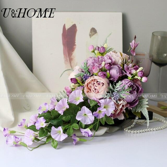 Artificial DIY flower bride bouquet silk rose purple peony morning ...