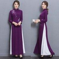 Vietnam Womens Vintage Dress New 2019 Purple Chinese Traditional Dress Vietnam ao dai Collar Long Sleeve Connotation Dress