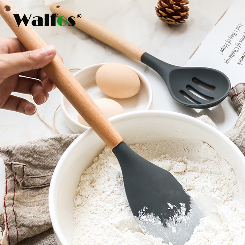 WALFOS Food Grade Silicone Wood Handle Cooking Utensils Cookware Kitchen Tools Spatula And Ladle Kitchenware