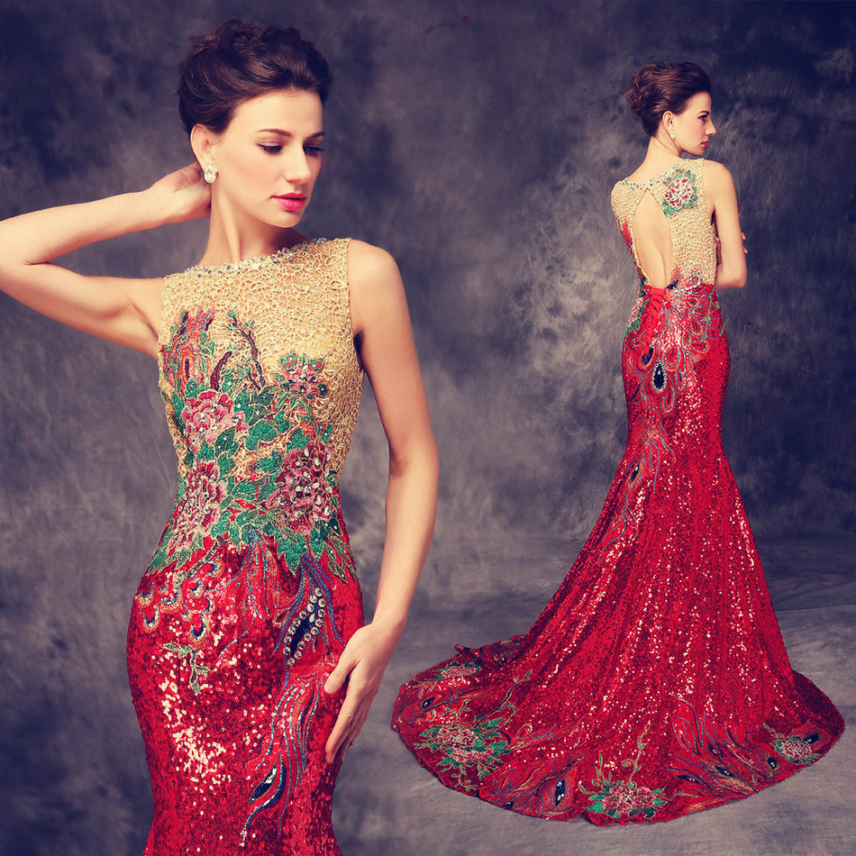 2016 Luxury Trailing Long Cheongsams Sequins Embroidery Backless Qipao Robe Orientale Chinese Tradition Wedding Dress