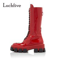 Shiny Red Lace Up Military Boots Mixed Color Chunky Sole Flat Platform Knee High Boots Winter Women Shoes Plus Size