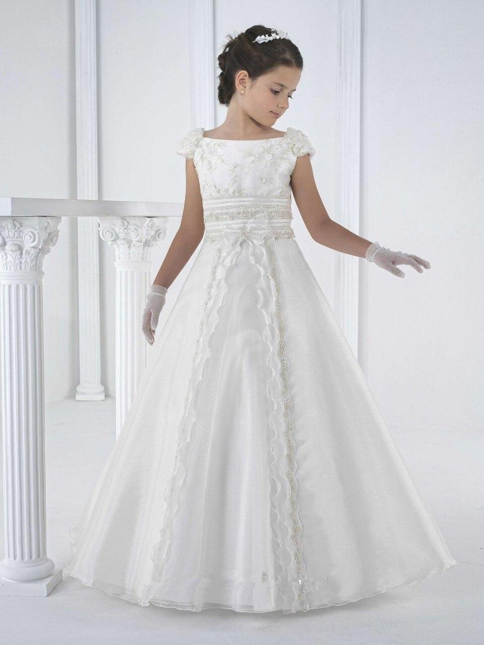 Kurze Blumenmädchenkleider für Hochzeiten Schöne a line gerade weiß Erstkommunion Kleider für Mädchen schärpen bodenlangen in Kurze ...