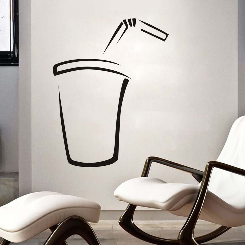 Kitchen Wall Sticker Simple Fashion Soda Diy Wall Decal For Dining Room Restaurant Vinyl Black Printed Home Decor Decals