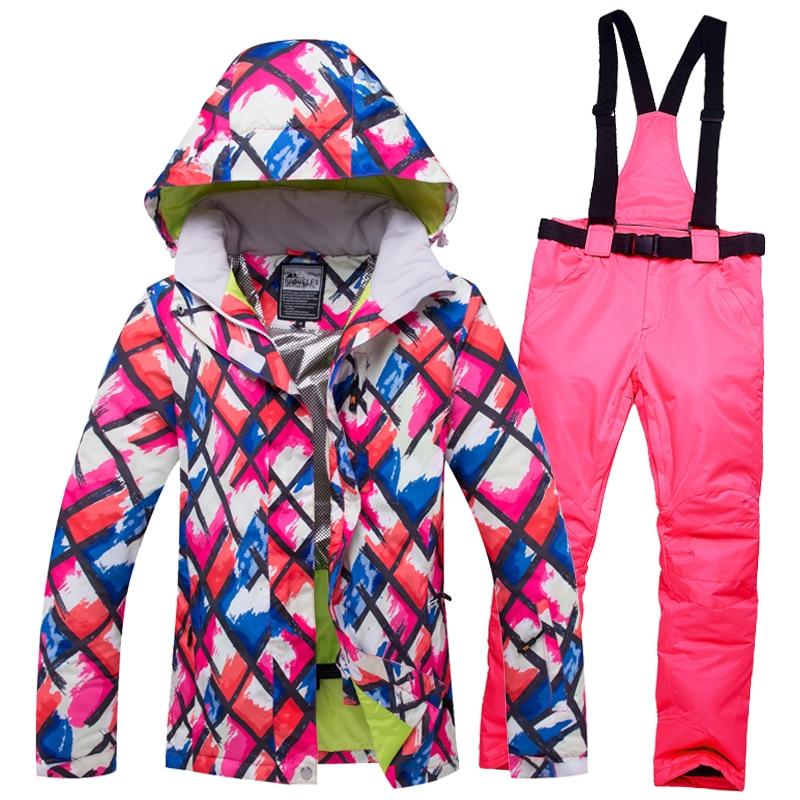 2018 RIVIYELE Women Ski Jacket Pant Snowboard Suit Windproof Waterproof Outdoor Sport Wear Skiing Super Warm Clothing Trouser 2018 riviyele women men ski jacket snowboard jacket super warm clothing skiing windproof waterproof outdoor sport wear thicken