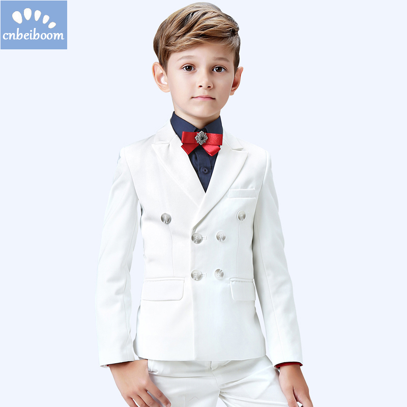 High Quality Formal Baby Boy Clothing Set White wedding suit Piano playing Party Dress For Children 3-16T Suits 5-Piece Clothes kimocat boy and girl high quality spring autumn children s cowboy suit version of the big boy cherry embroidery jeans two suits