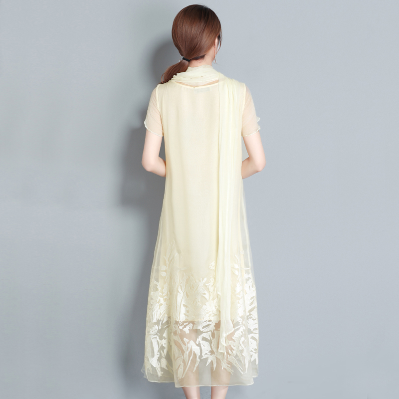 Vintage Organza Size Women Silk Embroidery Natural 2018 Dresses Clothes Floral Robe Summer Style Dress Apricot Chinese Party Plus Long OwgwZxR