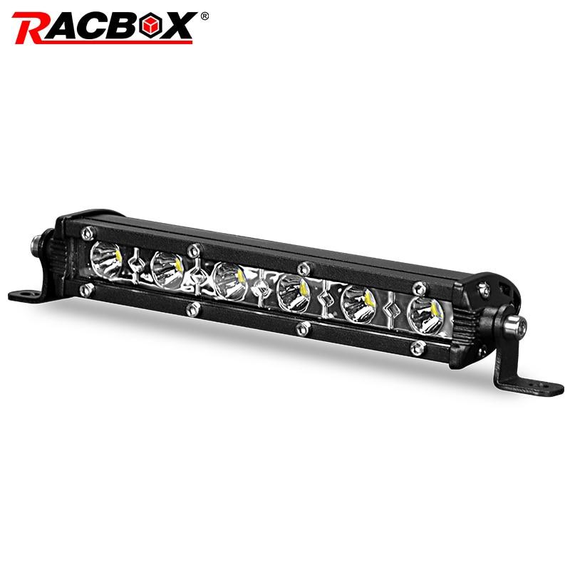 """RACBOX 7 """"lampa LED Slim Bar jeden rząd 18W samochód reflektor motocyklowy LED DRL mgła jazdy lampa do pracy 7 cali 6000K 12V 24V"""