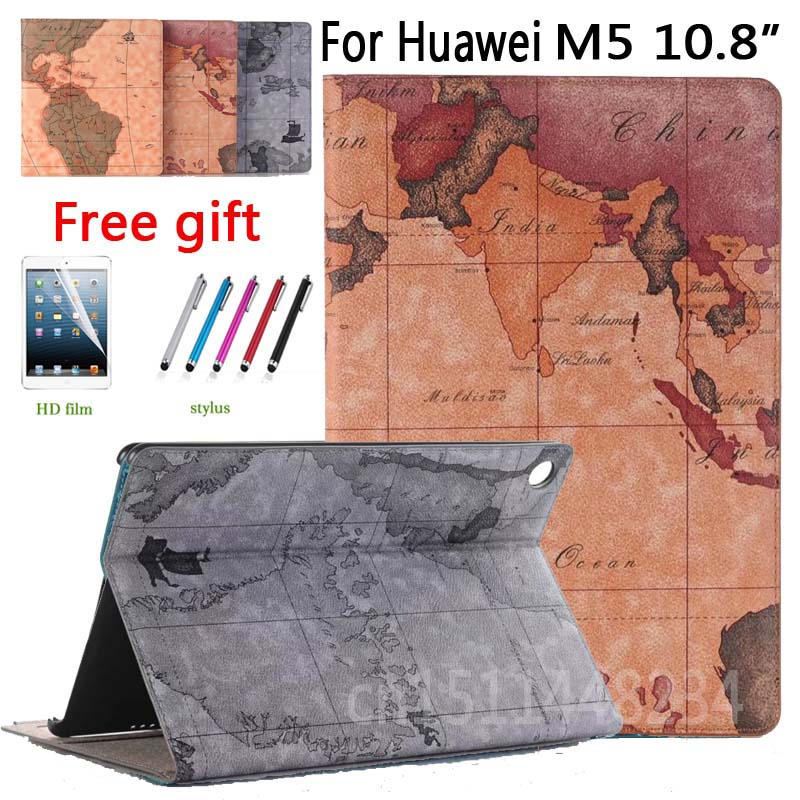 2018 New design map PU Leather Cover Case For Huawei MediaPad M5 Pro 10.8 Tablet Cover M5 10 10.8 inch CMR-AL09/W09 smart Case for huawei mediapad m5 pro 10 8 back case m5pro protective cover shell for huawi mediapad m5 10 8 inch tablet protector covers