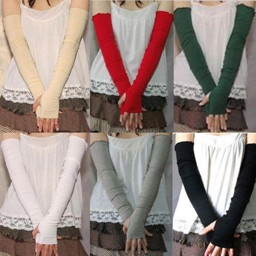 Hot Women's Cotton UV Protection Arm Warmer Long Fingerless Long Gloves Sleeves  8OKH