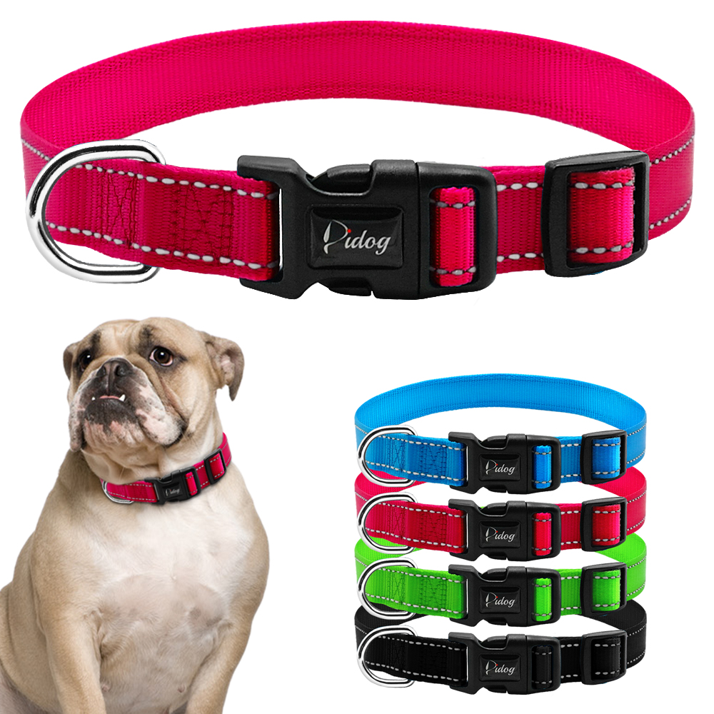 Collar de perro Nylon Reflectivo Durable Pitbull Collares ajustables - Productos animales