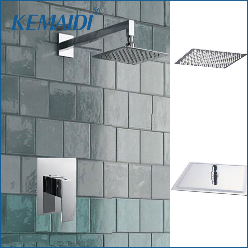 KEMAIDI 8 Inch Shower Head Wall Mounted Square Style Brass Waterfall Shower Set Factory Direct New Rainfall Bathroom Shower Kit good quality wall mounted square style brass waterfall shower set new bathroom shower with handle rainfall shower head