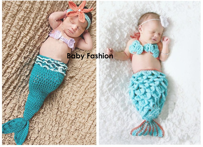 3pcs Baby Girl Clothes Newborn Photography Props Infant Headband+Mini Bra+Mermaid Tail Crochet Knit Ropa de Bebe Costume Outfit newborn baby photography props infant knit crochet costume peacock photo prop costume headband hat clothes set baby shower gift