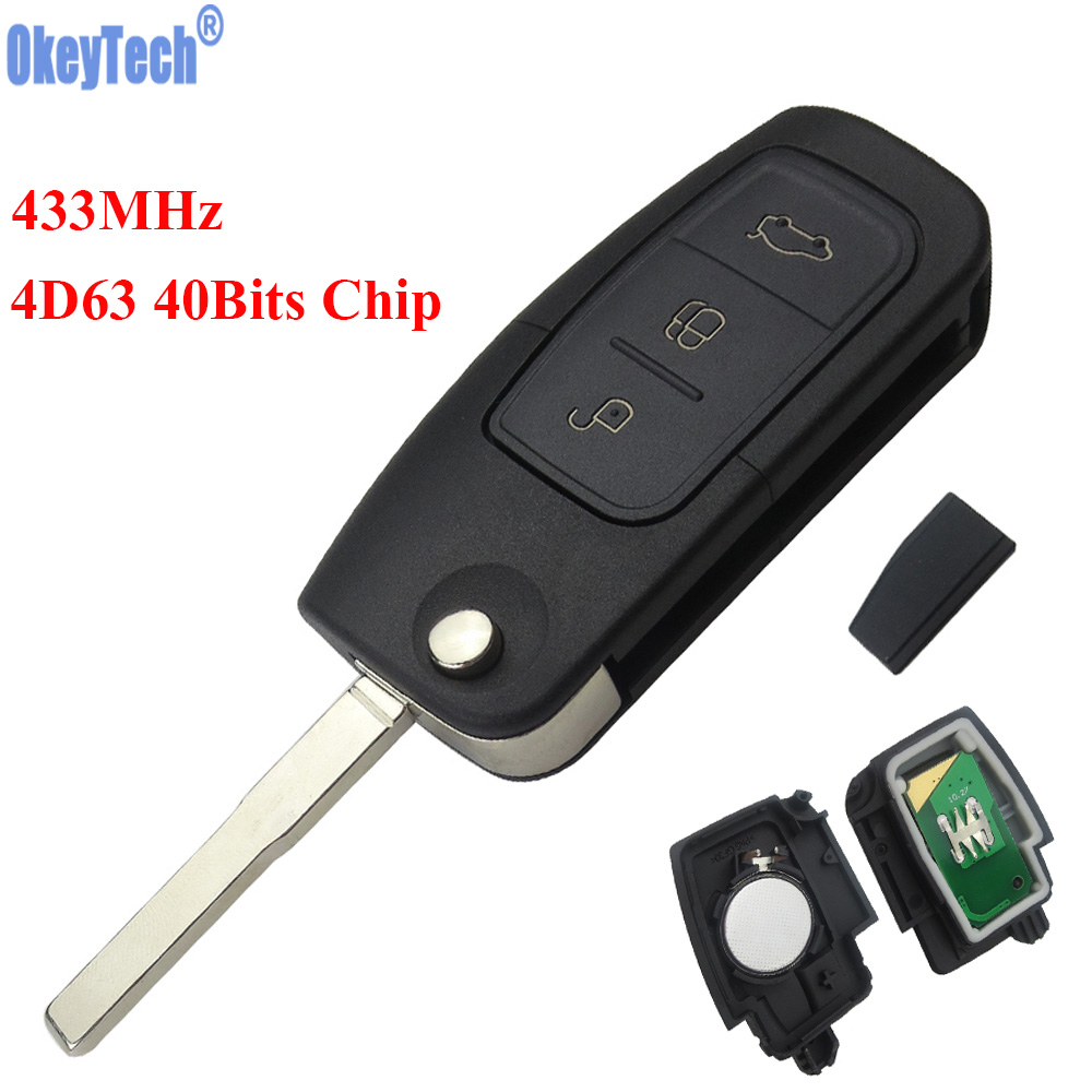 OkeyTech 433MHz 4D63 Chip 3 Buttons Flip Folding Remote Control Key for Ford Mondeo Focus Fiesta C Max S Max Galaxy HU101 Blade