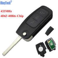 OkeyTech 433MHz 4D63 Chip 3 botones de Control remoto clave para Ford Fiesta C Max Galaxy HU101 hoja