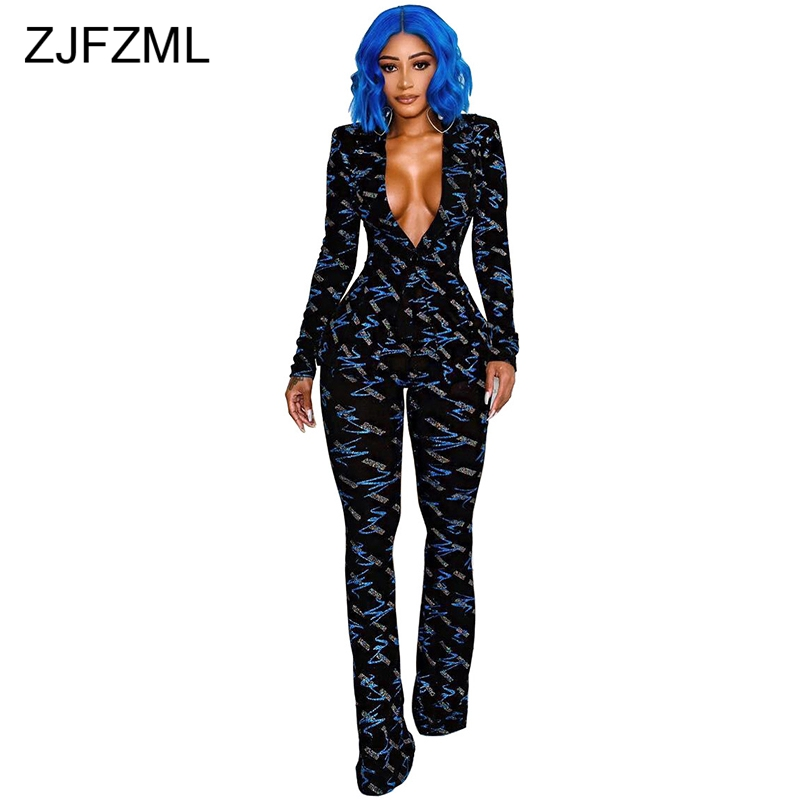 Blue Silver Printed Two Piece Tracksuits For Women Sexy Deep V Neck Long Sleeve Slim Fit Top And Bodycon Pants Spring Sweat Suit