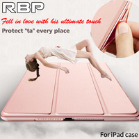 For Ipad Air 2 Case Ultra Thin Tri Fold PU Leather PC Back Cover For Smart