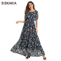 c3cdeb2ae3ec91 Siskakia Elegant Chiffon Floral Dress Slash Neck Short Sleeve Maxi Long  Dress Summer 2019 Beach Holiday