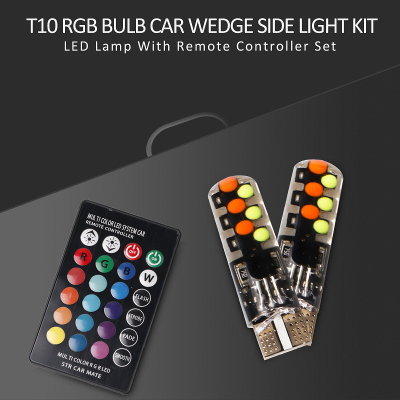 2x T10 RGB Bulbs Canbus Car Wedge Side Light Kit LED Lamps Remote Controller Set