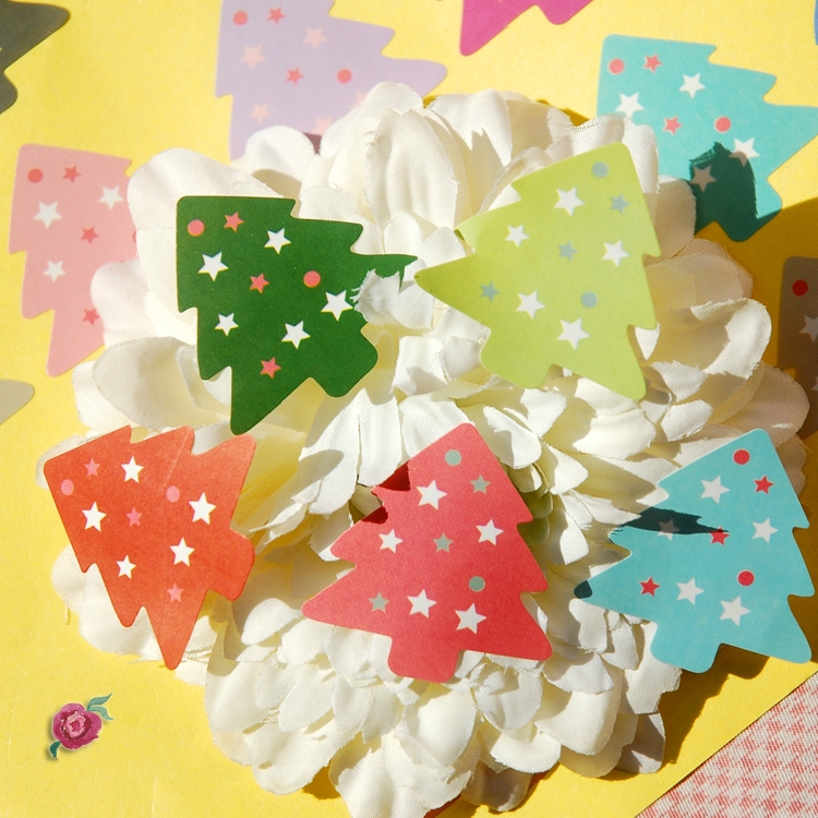 100Pcs/Lot New Christmas Tree Star Candy Color Seal Sealing Label Kraft Sticker Baking DIY Work Gift Box Stickers