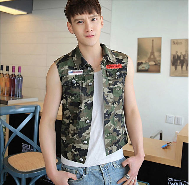Men'S Clothing Spring 2014 Men Military Camouflage Denim Vest Male Summer Slim Casual Jean Waistcoat Outwear Free Shipping Q290