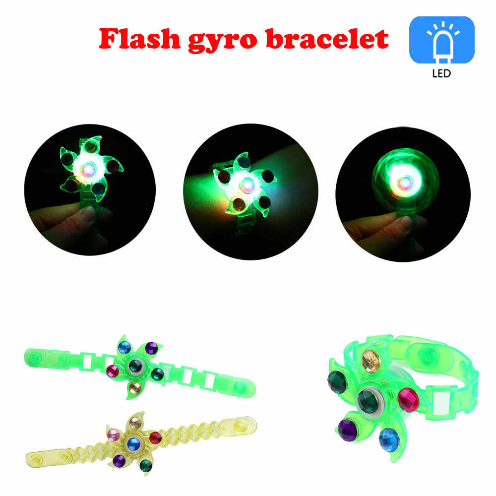 Kids Toy Baby Funny Toys For Boy Girl Children's Luminous Wrist Band Manual Rotating Soft Plastic Flash Gyro Bracelet