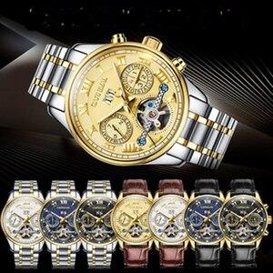 Image 3 - קרנבל tourbillon חם אוטומטי מכאני מותג גברים של שעונים אופנה צבא ספורט עמיד למים שעון זוהר יוקרה מלא פלדה