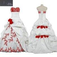 Классический белый и красный цветок свадебное платье 2017 бальное платье Милая Средства ухода за кожей Шеи Палочки-ups юбка свадебные платья