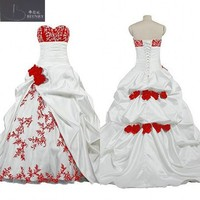 Classic Red And White Wedding Dress Sweetheart Neck Pick Ups Skirt Bridal Gowns With Hand Made