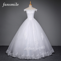 Fansmile Korean Lace Up Ball Gown Wedding Dresses 2017 Plus Size Bridal Dress Princess Wedding Gown Real Photo