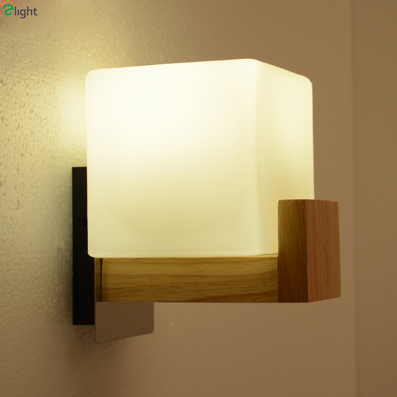 Modern Square Solid Wood Led Wall Lamp Lustre Frosted Glass Bedroom Led Wall Light Wall Lights Simple Corridor Led Wall Lighting modern chrome metal led wall lamp lustre crystal living room led wall lights fixtures glass bedroom led wall light wall sconce
