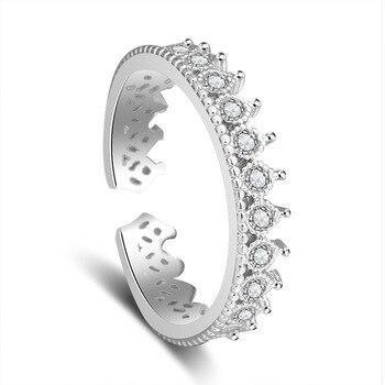 Women Roman Crown Open Ring Jewelry 925 Silver Jewelry
