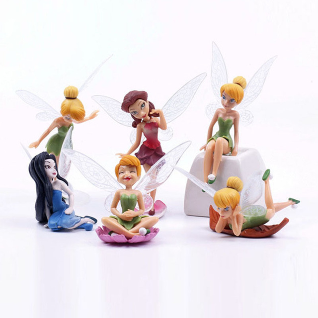 6Pcs/Set Princess Tinkerbell Fairy PVC Figures Tinker Bell Figure Toys Model Dolls Great Gifts 6~9cm