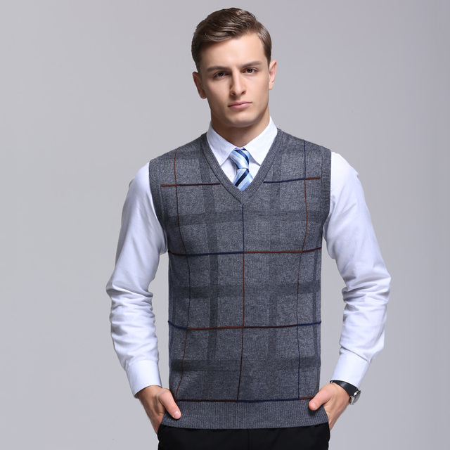 2017 Winter Sleeveless Wool Sweater Vest Mens Cashmere Pullover