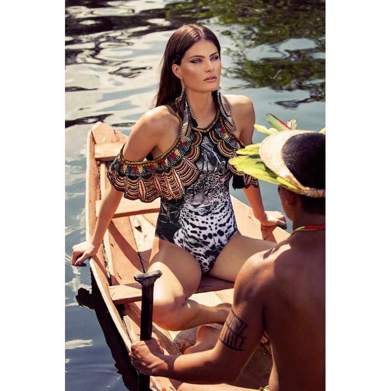 Swimwear Female Swimsuit 2018 Bikini Xl Bather Bikiny Set Women Launched Left Big Flower Printed Pure Tiger Print Polyester