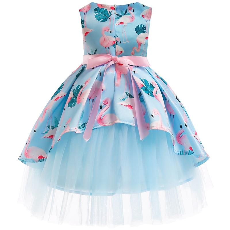 Girls Christmas Flower and Bird Dress Girl Princess Costume Dresses Girl Party Kids Children Prom Gown Vestido Formal Dress Bow 2