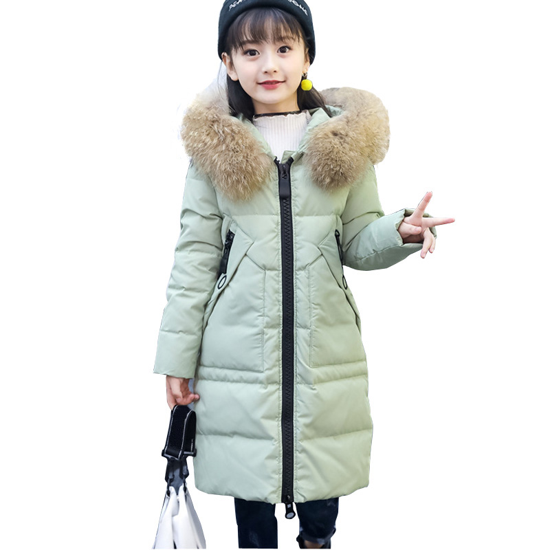 2017 Fashion Girl's Coats Winter Girls Coat with Fur Hood Long Thick Duck Down Kids Outerwears Warm Coat DQ641 shein faux fur trim hood embroidery applique coat casual women winter coats navy long sleeve zipper hooded coat
