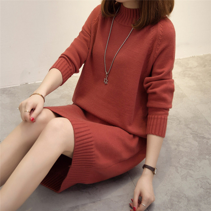 Fashion 2017 Women Autumn Winter Sweater Dresses Slim Half Turtleneck Sexy Casual Loose Solid Color Robe Knitted Pullover